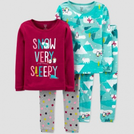 Toddler Girls' 4pc Snow Very Sleepy 100% Cotton Pajama Set - Just One You® made by carter's Maroon/Blue