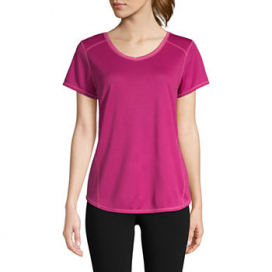 St. John's Bay Active Quick Dry-Womens V Neck Short Sleeve T-Shirt