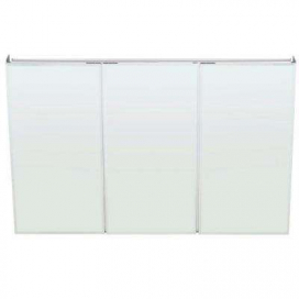 Pegasus 48 in. W x 31 in. H Frameless Recessed or Surface-Mount Tri-View Bathroom Medicine Cabinet with Beveled Mirror
