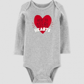Baby Girls' 'Here To Steal Hearts' Bodysuit - Just One You® made by carter's Gray
