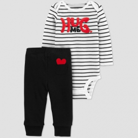 Baby 2pc Hug Me Bodysuit Set - Just One You® made by carter's White/Black