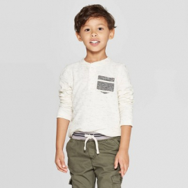 Toddler Boys' Specialty Double Knit Henley Long Sleeve T-Shirt - Cat & Jack™ Cream