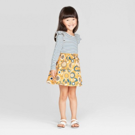 Toddler Girls' Long Sleeve A-Line Dress - Cat & Jack™ White/Blue/Yellow