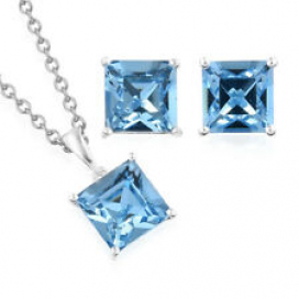 925 Sterling Silver Made with Swarovski Crystal Earrings Chain Pendant Necklace