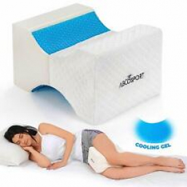Abco Tech Memory Foam Knee Pillow with Cooling Gel Leg Pillow Wedge With Cover
