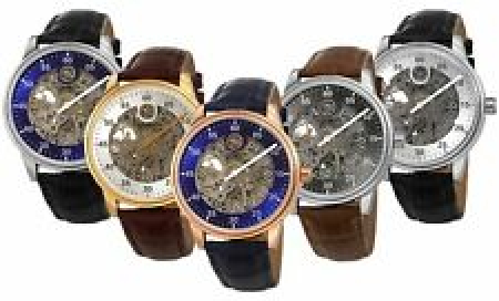 Men's Akribos XXIV AK1111 Automatic Skeletonized Rotating Hour Disc Strap Watch