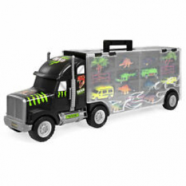 BCP 16-Piece 22in Semi-Truck Carrier Toy w/ 3 Cars, 6 Dinosaurs - Multicolor
