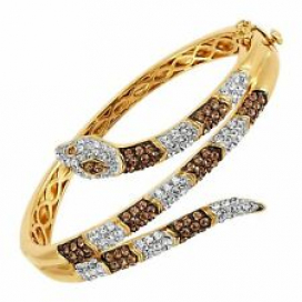 Crystaluxe Snake Hinged Wrap Bangle Bracelet in 18K Gold-Plated Bronze, 7""