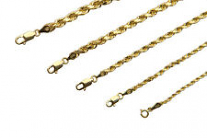 "BRAND NEW 14K Yellow Gold 1.5-5mm Italy Rope Chain Twist Link Necklace 16"" - 30"""
