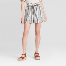 Women's Striped Mid-Rise Tie Front Shorts - Knox Rose™