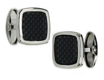 Mens Black Carbon Fiber Cuff Links in Stainless Steel