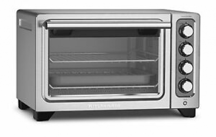 """KitchenAid Steel 12"""" Convection Countertop Toaster Oven Bake Broil RKCO253CU"""