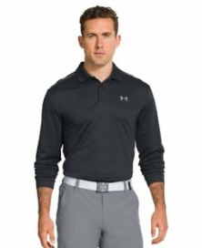 New Mens Under Armour Athletic Gym Rugby UA Infrared Long Sleeve Polo Top