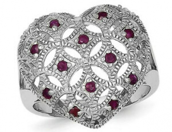 Natural Ruby Heart Promise Ring in Sterling Silver