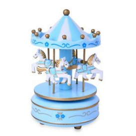 Blue White 4 Horse Wooden Circus Carousel Musical Box Kids Decor Gifts for Dad