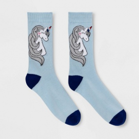 Women's Sparkly Unicorn Crew Socks - Light Blue 4-10