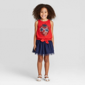 Toddler Girls' Glitter Strawberry Top and Skirt Set - Cat & Jack™ Red