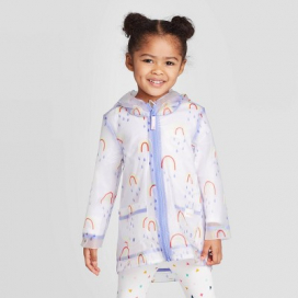 Toddler Girls' Rainbow Print Rain Jacket - Cat & Jack™ White/Blue