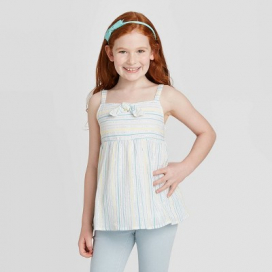 Girls' Shine Tie-Front Woven Tank Top - Cat & Jack™ White