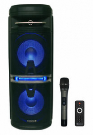 "Rockville Go Party X10 Dual 10"" Battery Powered Bluetooth Speaker+UHF Microphone"