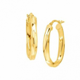 Italian-Made Twisted Oval Hoop Earrings in 18K Gold-Plated Bronze