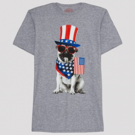 Men's Americana Patriot Pup Short Sleeve Graphic T-Shirt - Gray